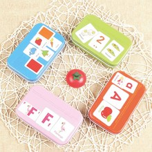 цена Kids Learning and Education Wooden toys Letter/color/Animals/Fruit Cognitive cards Cognition Puzzles for children