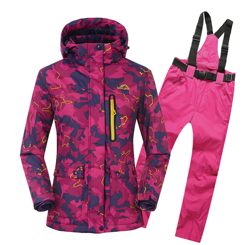 2017 Camouflage Women Super Warm Ski Suit Windproof Waterproof Hooded Jacket+Pant Skiing Snowboard Thicken Thermal Coat Trouser diy 48v 1000w samsung cell electric bike lithium battery 48v 30ah li ion 18650 battery with 30a bms for e bike battery