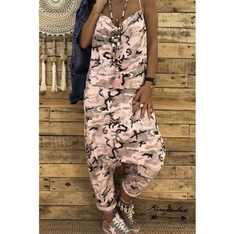 New Fashion Camouflage Print Spaghetti Strap   Jumpsuits   Streetwear Summer Women Sexy   Jumpsuits   V Neck Sleeveless Military Rompers