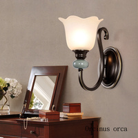 País da américa azul cerâmica criativa lâmpada de parede sala de estar corredor quarto lâmpada de cabeceira de estilo Europeu simples lâmpada de parede de LED|Luminárias de parede| |  -