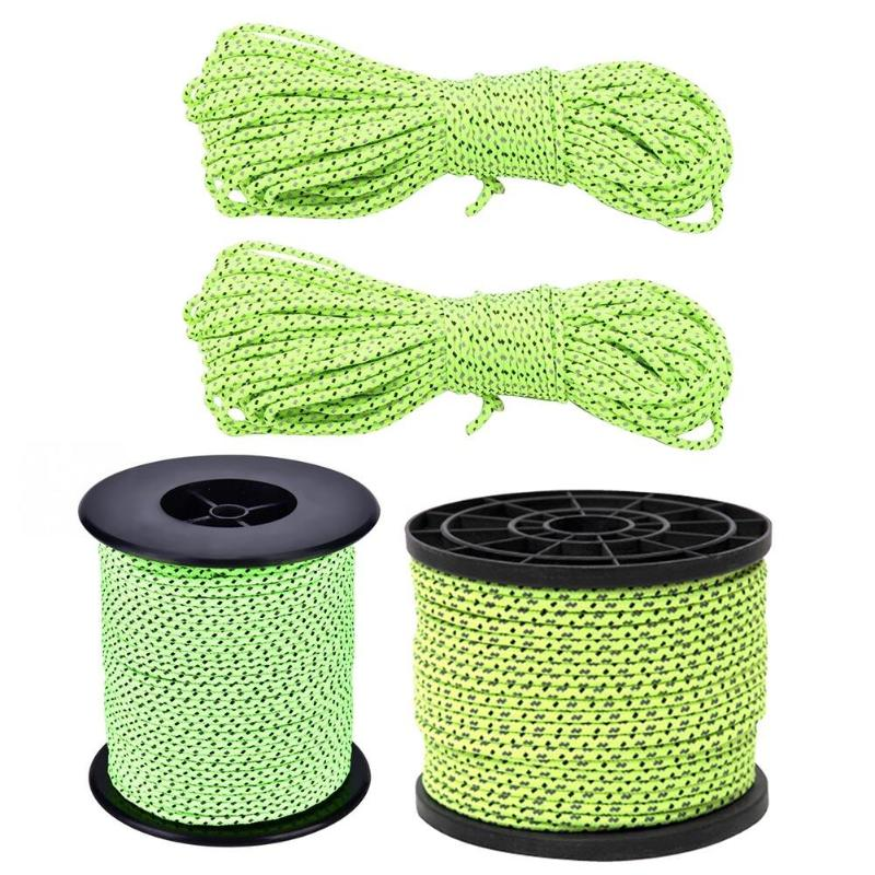 20m/50m Reflective Guyline Tent Rope Runners Fluorescent Green Guy Line Cord Paracord Outdoor Camping Hiking Tent Accessories