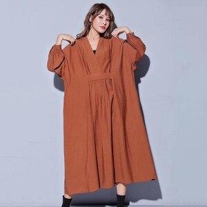 Image 3 - CHICEVER 2020 sonbahar elbiseler büyük boyutları V boyun uzun kollu gevşek büyük boy Midi elbise kadın nedensel elbise yeni