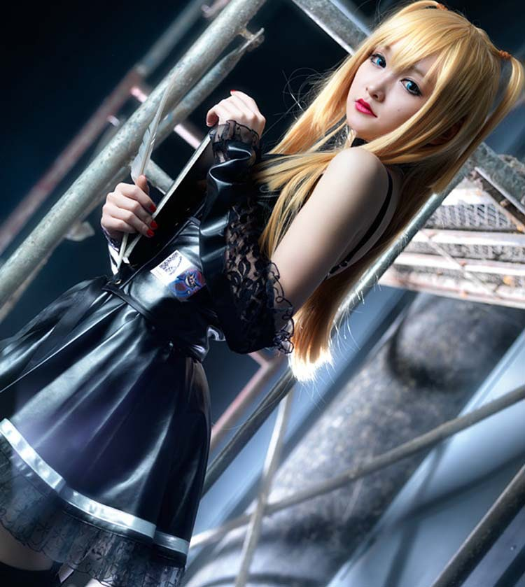 Death Note 2018 Misa Amane Imitation Leather Sexy Tube Tops Lace Dress Uniform Outfit Anime Cosplay Costumes