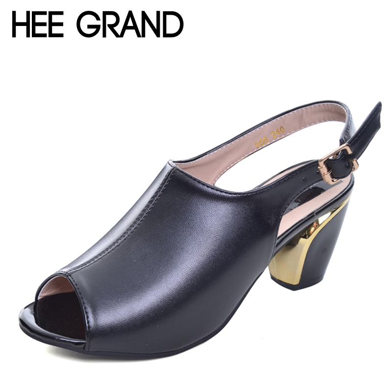 HEE GRAND Women Summer Sandals Peep-toe Solid PU Leather Med High Heels Shoes Woman Square Heel Pumps Spring Size 35-40 WXG044 hotsale women solid blue flower decoration crossed style slip on sandals summer fashion high suare heel peep toe pumps free ship