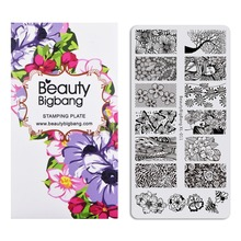 Beautybigbang Stainless Steel Nail Stamping Plates Panda Lace Style Stamp Stamper Carimbo de unha Plate Nails Art