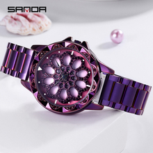 SANDA Rotate Dial Watch Women Top Luxury Crystal Ladies Watches 30M Waterproof Japenese Movement Dress Clock relogio feminino