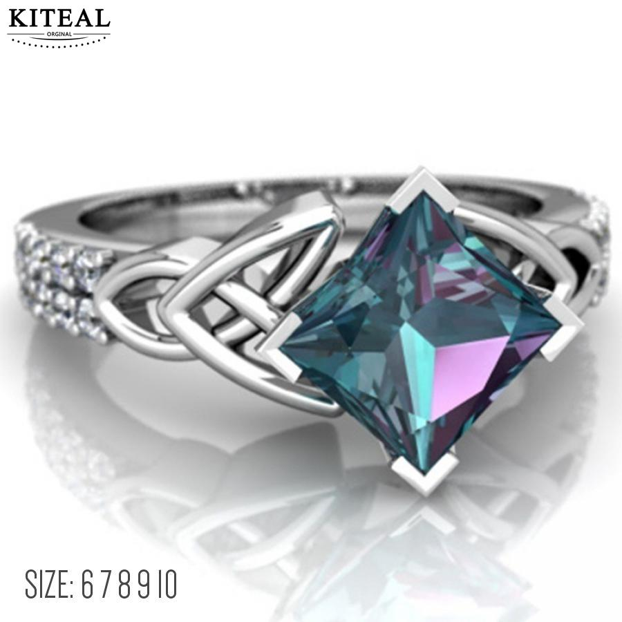 KITEAL 2018 Fashion Large Square Seven Colour Stone Plated Silver Ring for Women Rainbow Cubic Zircon Jewelry Wedding Gift