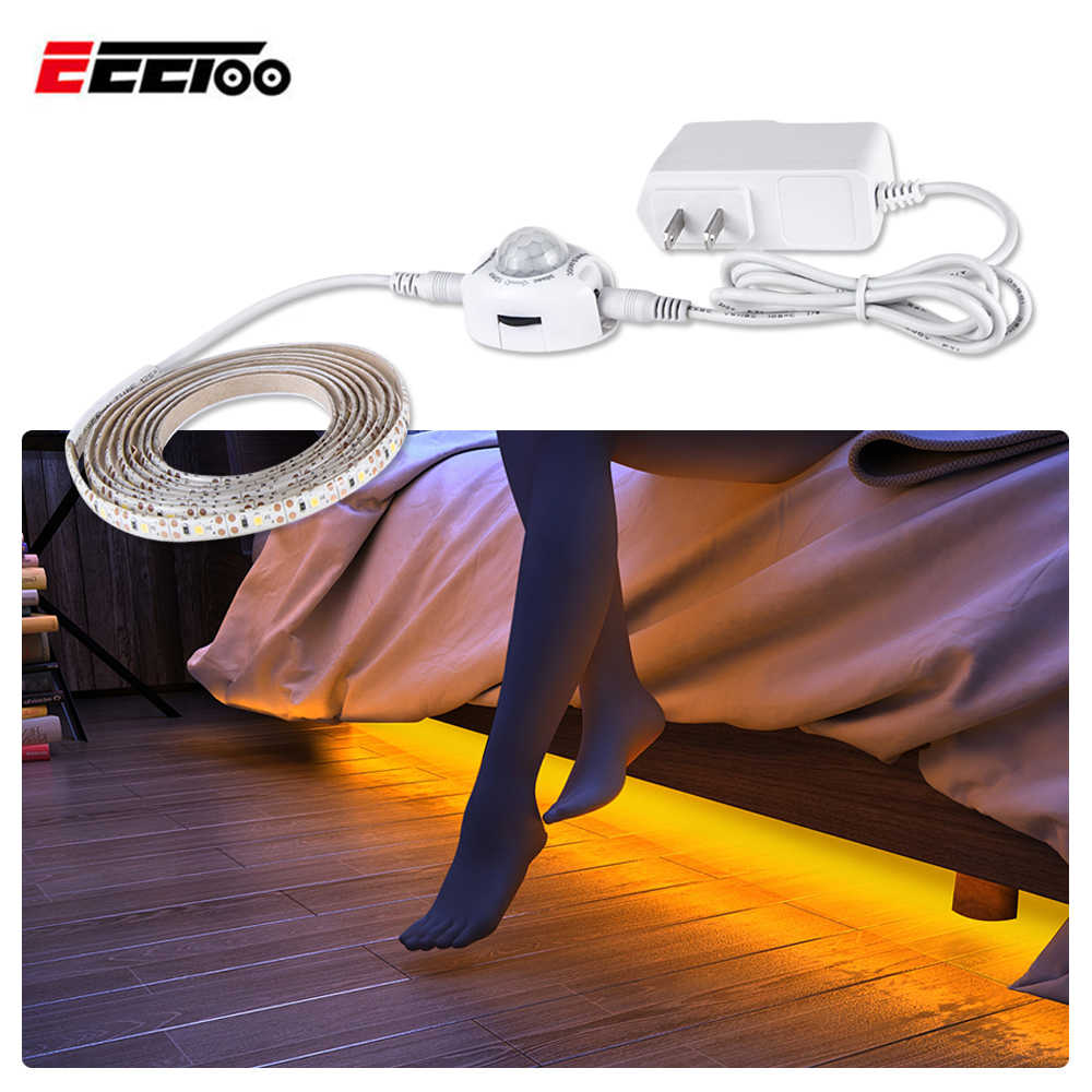 EeeToo LED Under Cabinet Lights PIR Motion Sensor Led Strip 12V Wardrobe Lamp Luminary Night Lighting For Kitchen Bedroom Closet