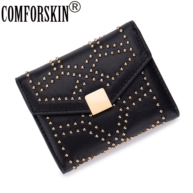 COMFORSKIN Luxurious 100% Genuine Leather Rivet Magnetic Hasp Style Female Purses Hot Brand Short  Business Women Wallets 2018