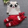 roupas de bebe Infant Clothing Sets Baby Boys Striped Panda T-shirt + Overalls Trousers Kids Two Pieces Suits