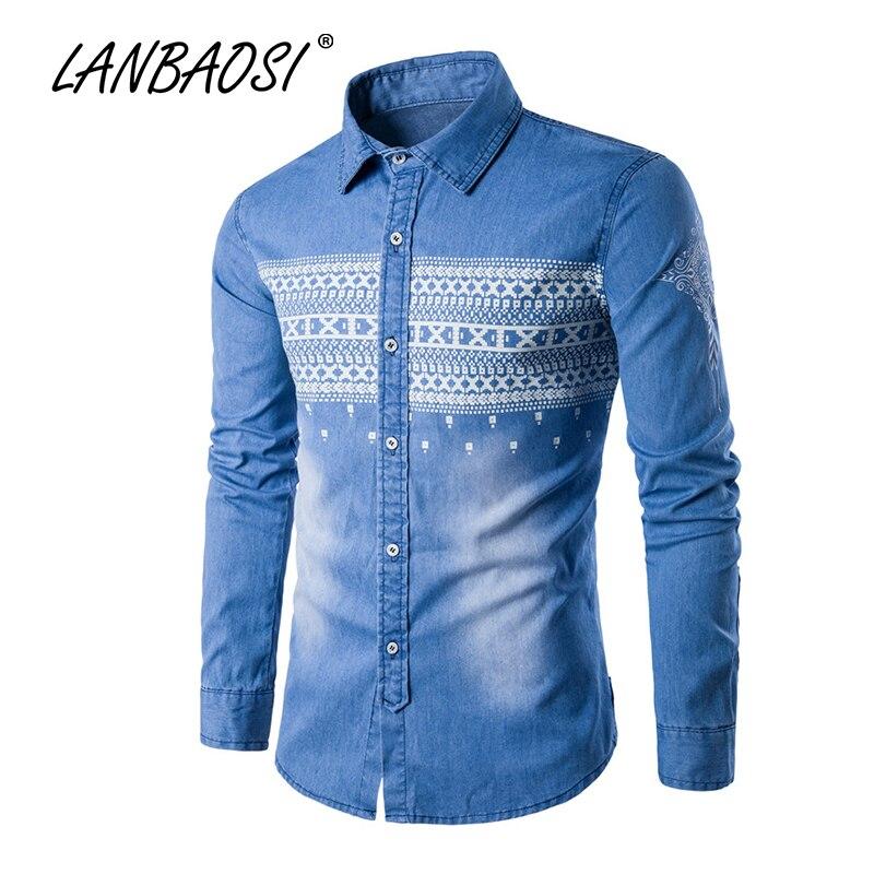 LANBAOSI JEANS 패션 남성 카우보이 셔츠 긴 소매 캐주얼 내셔널 스타일 프린트 블루 데님 셔츠 Camisas Chemise Vestidos