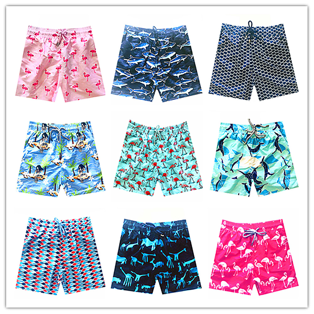 KYKU 2018 Vilebreq Beach Board Shorts Swimwear Flamingo Dolphin Mermaid Turtles Mens