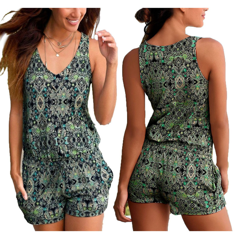 Sexy Sleeveless Short Rompers Womens Jumpsuit Summer Floral Shorts Bodysuit Beach Playsuit Coveralls Female Frock Plus Size S-2X