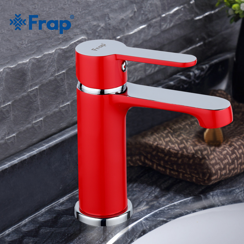 FRAP Innovative Fashion Style Home Bath Basin Faucet Cold and Hot Water Taps red bathroom mixer F1043