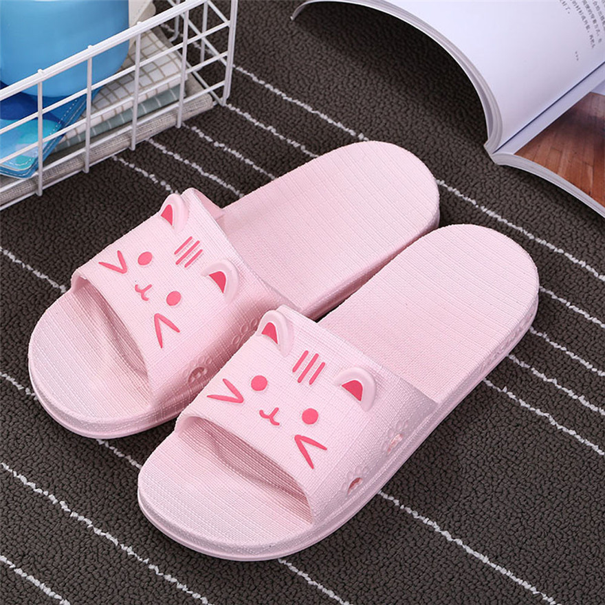 Women Cartoon Cat Bath Slippers Summer Sandals Indoor & Outdoor Slippers Women's Summer Footwear chaussures femme zapatos