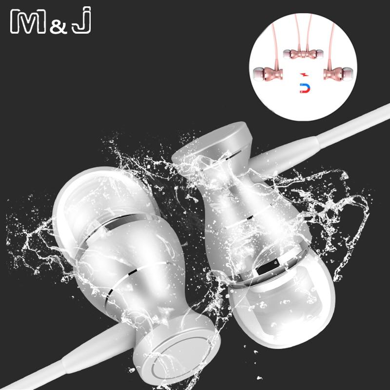 M & J J9 Kulak Metal Kulaklık Kulakiçi In-line Kontrol Manyetik Netlik Stereo Ses Cep Telefonu MP3 Için Mic Ile Kulaklık MP3