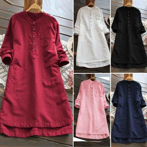 ff8134a4 Cheap Mujeres algodón Lino cuello en V sólido Hohemian vestido Casual  suelto manga larga botón abajo