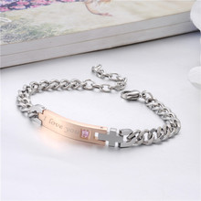 Trendy Stainless Steel Crystal I Know I Love you Bracelet For Women Men Bangles Couple Jewelry