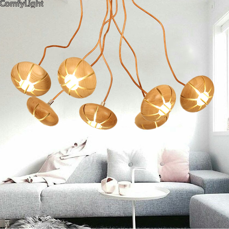 Creative Home Modern LED Ceiling Chandelier Lighting Living Room Bedroom Chandeliers line fashion wooden Lighting Fixtures warm modern crystal chandelier hanging lighting birdcage chandeliers light for living room bedroom dining room restaurant decoration