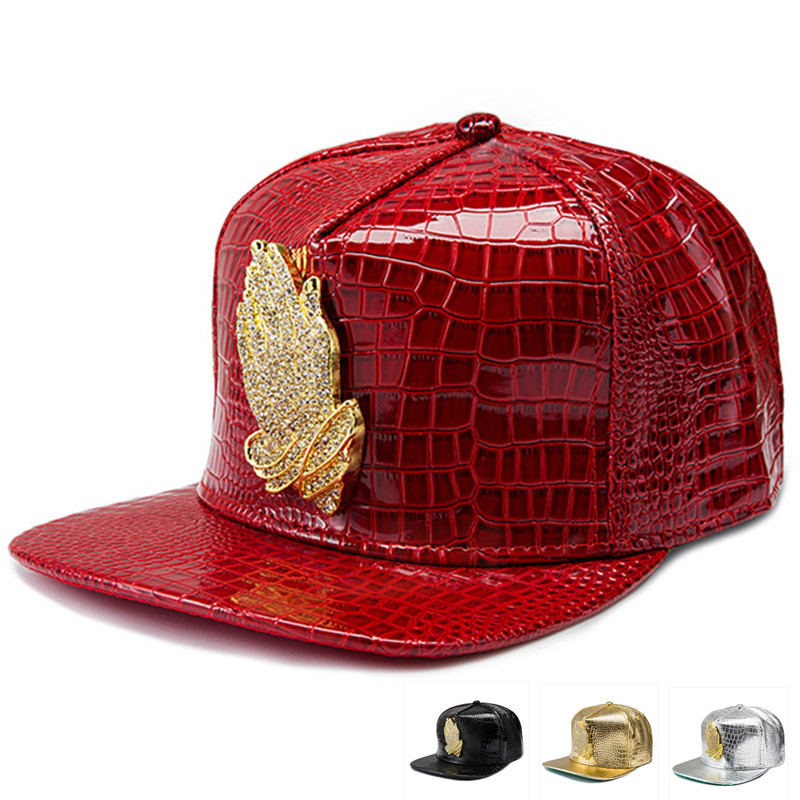 ed922d3ff38 Faux Leather Jesus hip hop hats Diamond Crocodile Grain Reta snapback men  women Golden Rhinestone praying