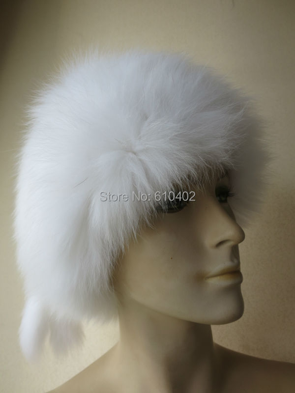 free shipping Lady s Genuine Real Fox Fur hand made knitted Hat white