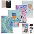 Tablet Case Cover For Samsung galaxy Tab E 9.6 T560 9.6''case Printed Design Flip Stand Wallet Painted flower PU Leather+film