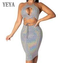 YEYA Summer Glitter Slim Dress Sexy Hollow Out Backless Bodycon Bandage Dress Women Elegant Party Club Dress Robe Boheme Femme цена и фото