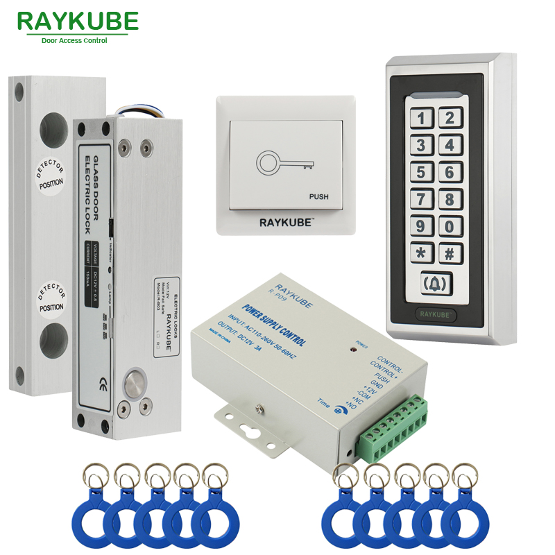 RAYKUBE Glass Door Access Control Kit Electric Bolt Lock + Metal RFID Reader Acccess Control Keypad Frameless Glass Door raykube glass door access control kit electric bolt lock touch metal rfid reader access control keypad frameless glass door