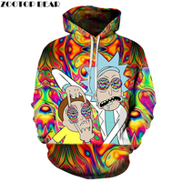 Funny Hoody Rick Hoodies 3D Pullover Mens Sweatshirts Male Hoodie Streatwear Tracksuit 2018 Autumn Clothing DropShip ZOOTOPBEAR