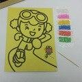 10 Pcs 12.5 cm * 17 cm 36 Cor de Areia Pintura de Arte Conjunto Cartões de Crianças com fundo amarelo Desenho Educacional brinquedos-Entrega Aleatória