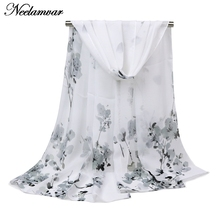 все цены на  Hot Fashion thin Women Scarf Chiffon  Shawl turban flower print Hijab Neck Warmer Silk Scarf  Girls Cape 50*160 Long Headband онлайн