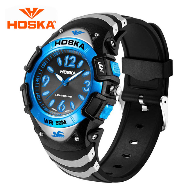 HOSKA Boys And Girls Students Watches Children's Electronic Table Fashion Quartz Watch Waterproof Luminous Big