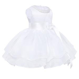 Image 2 - フラワーガールのドレス幼児赤ちゃんのプリンセスチュチュドレス真珠ネックノースリーブページェントウエディングパーティードレスコットンベビーガールサマードレス
