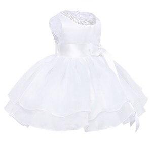 Image 2 - Vestidos de flores niñas infantil bebé niñas princesa tutú Vestido cuello perla sin mangas Vestidos para concurso de belleza, boda, fiesta Vestido