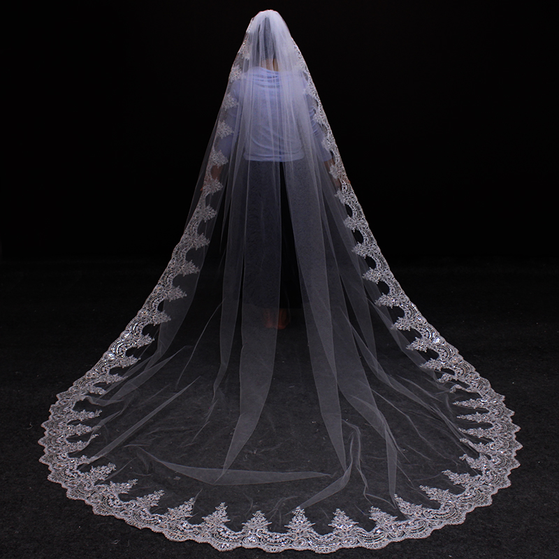 3 м белый кот собор фаты длинные кружево край фата с расческой свадебные аксессуары невесты мантилья вуаль