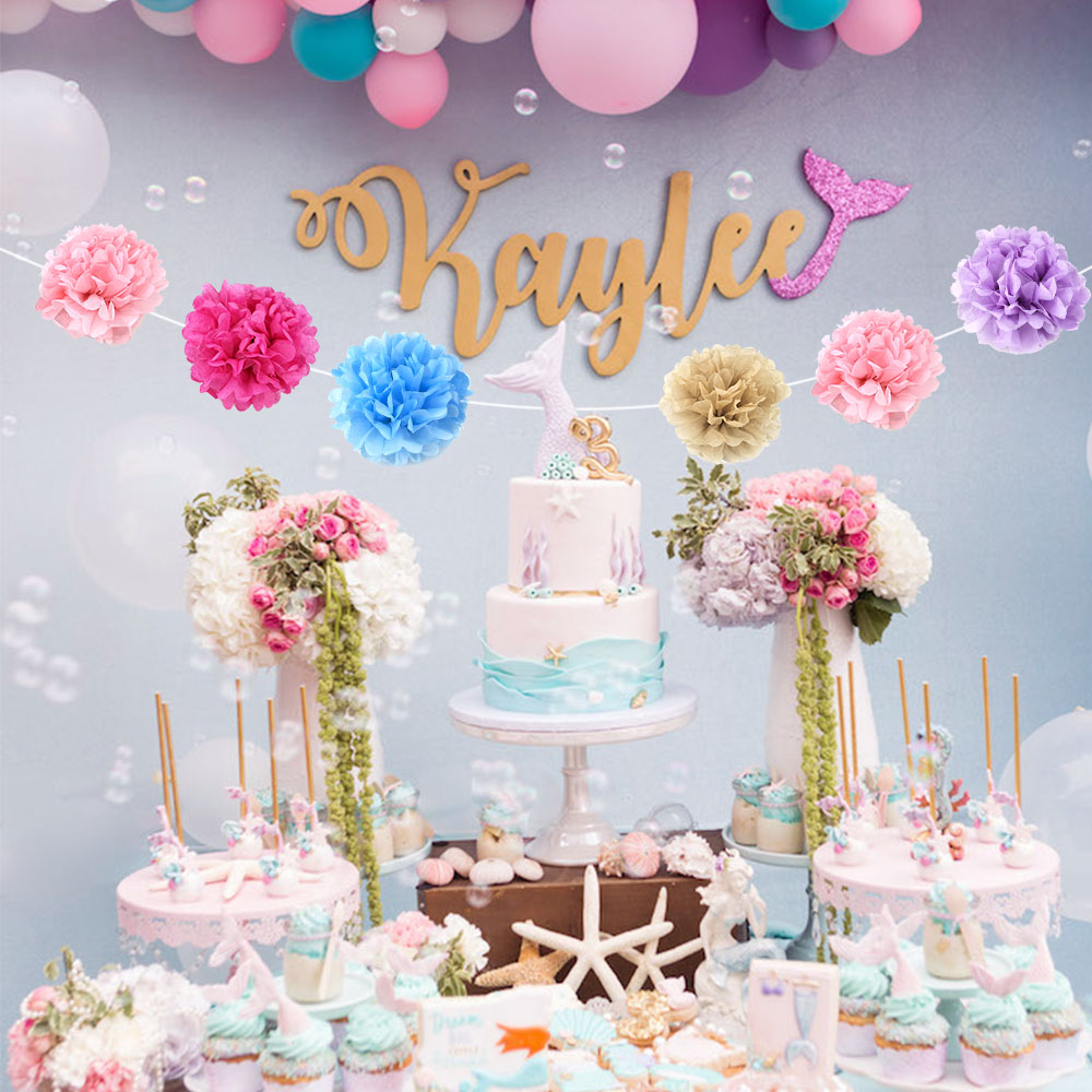 Купить с кэшбэком 6pcs/set Tissue Paper Pom Poms craft flowers Paper Flower Ball Pompom For Home Garden Wedding Birthday&Wedding Car Decoration
