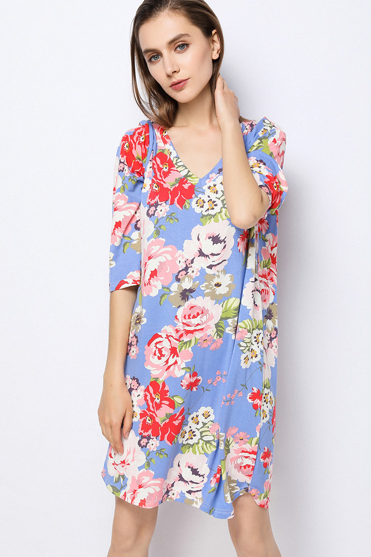 Free shipping.Summer modal new womens Nightgowns Sleepshirts,thin home clothing,femme soft sales plus size dress quality