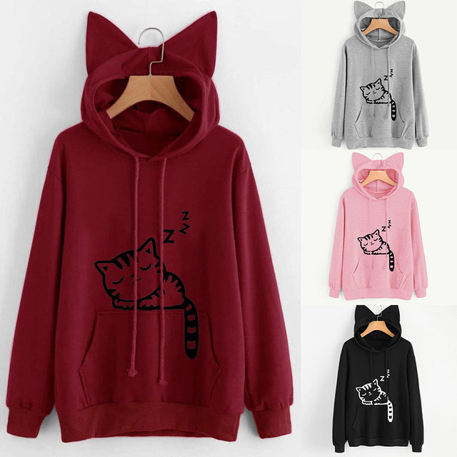 Hooded Hoodies Women Kawaii Cat Ear Loose Casual Streetwear