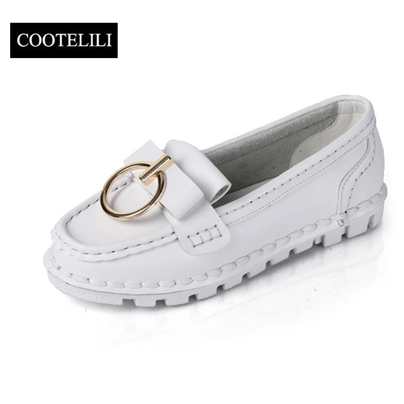 COOTELILI 35-39 Spring Solid Casual Flats Women Shoes Metal Buckle Creepers Round Toe Loafers Leisure Slip-On Soft Ladies Shoes 2017 shoes women med heels tassel slip on women pumps solid round toe high quality loafers preppy style lady casual shoes 17