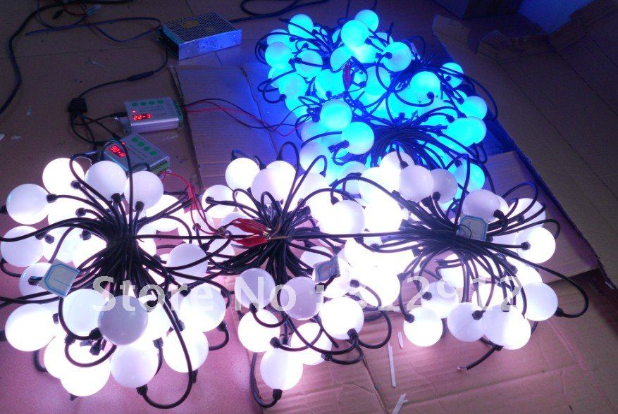 50pcs full color ball type led pixel module,DC12V input,3pcs 5050 RGB+WS2811 IC;with RF controller and power supply 3pcs i9300 power supply ic max77686