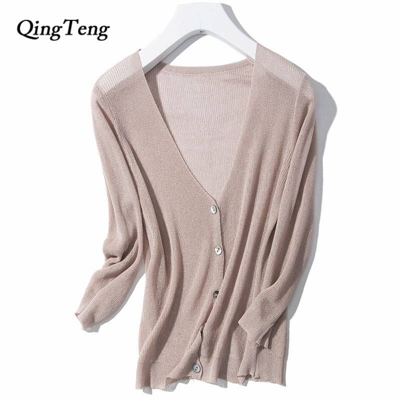 V-neck Thin Knitted Tops Sun Protection Short Ultra-thin Transparent Sweater Cardigan Crop Top Female High Grade Button Fashion