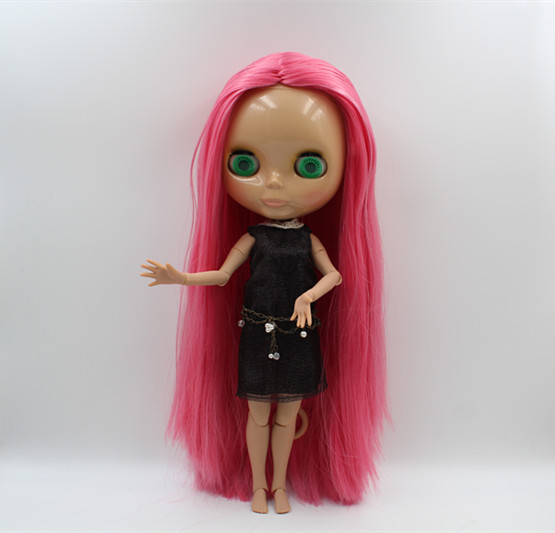Blyth nude doll white skin Elegant mixed color straight