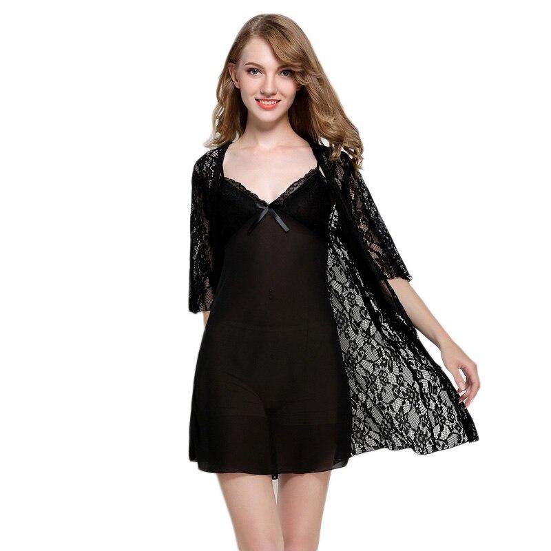 Hollow Bath Robe & dress set Sexy Bathrobe Women Nightdress Summer Lace Robe Set Sleepwear Pajamas Pijama Robe & Gown Sets