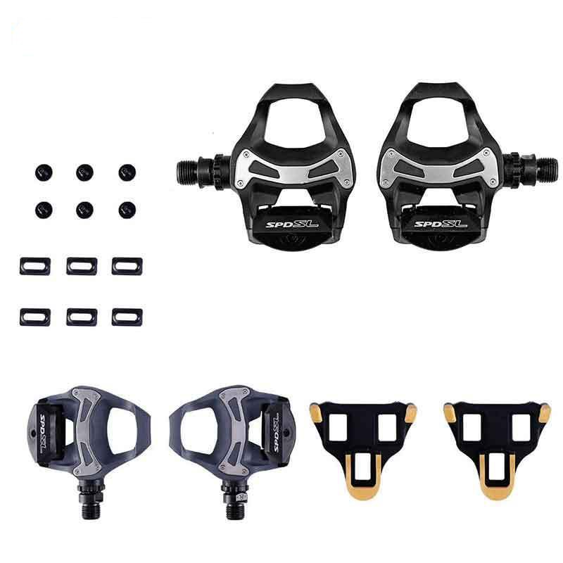 Shimano Road Bike PD R550 SPD SL Clipless Road Pedals + 6degree Float Cleats shimano pd r550 spd sl clipless road pedals cycling road self locking pedal