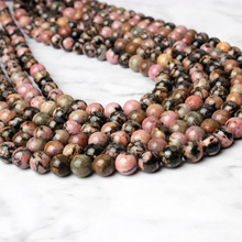 LIngXiang fashion natural Jewelry  Black-line Rhodochrosite loose beads DIY Men and women bracelet necklace Accessories