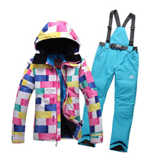 Brand Women's Winter Jackets Ski Suits Waterproof Windproof Softshell Coats Snowboard Plaid Jacket and Ladies Pants