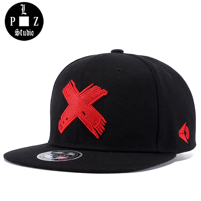PLZ Embrioidery X Snapback Baseball cap Men Hat Flat Brim 2018 Brand New Design Dancer Rapper Skater Hats Adjustable Summer Caps aetrue winter knitted hat beanie men scarf skullies beanies winter hats for women men caps gorras bonnet mask brand hats 2018