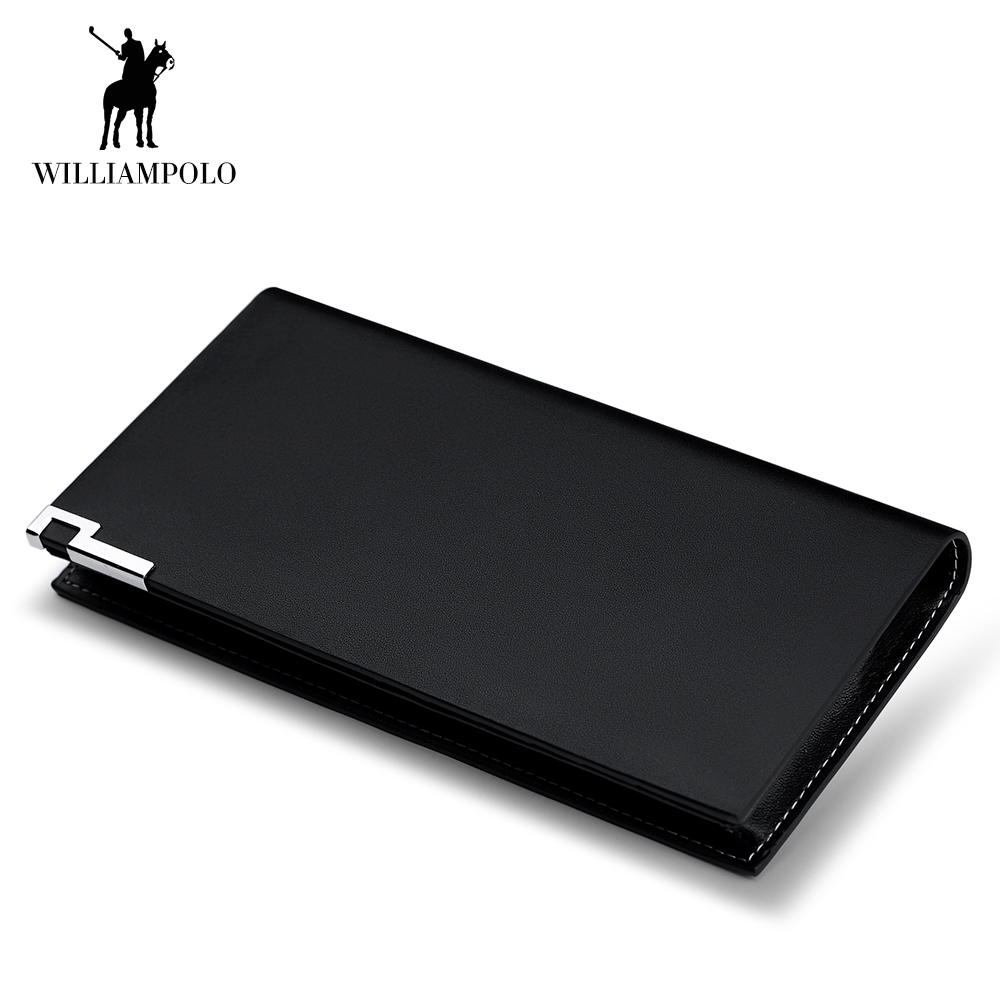 WILLIAMPOLO Genuine Leather Men Wallets Slim Business Clutch Man Coin Purse Credit Card Holder Money Bags Black Cowhide Purse 83 contact s long genuine leather men wallets male purse coin id credit card holder phone man clutch bags money small perse black