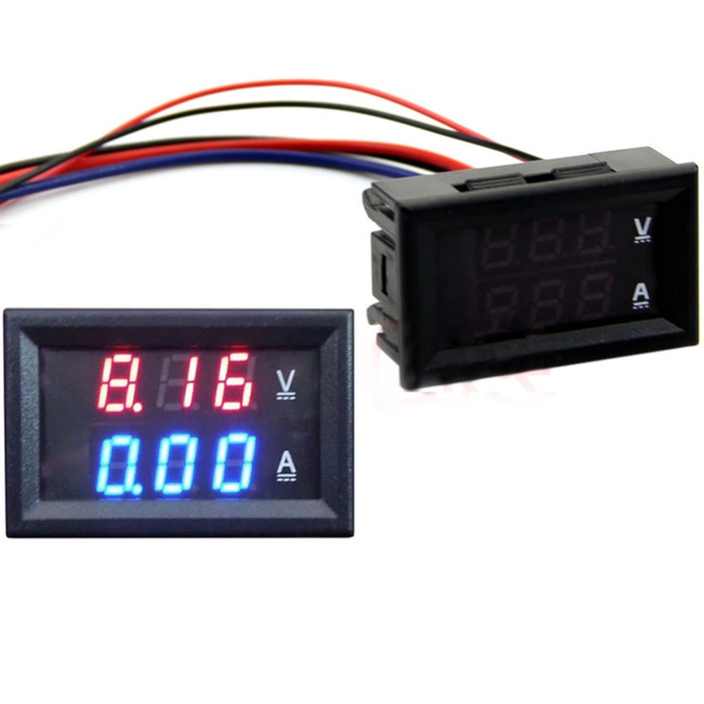 NEW <font><b>DC</b></font> <font><b>100V</b></font> <font><b>50A</b></font> Voltmeter Ammeter Blue + Red <font><b>LED</b></font> Amp <font><b>Dual</b></font> <font><b>Digital</b></font> Volt Meter Gauge image