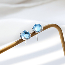 Silver Mermaid Bubble Tears Stud Earrings 925 Light Blue Aurora Crystal Earring For Women Gift Jewelry